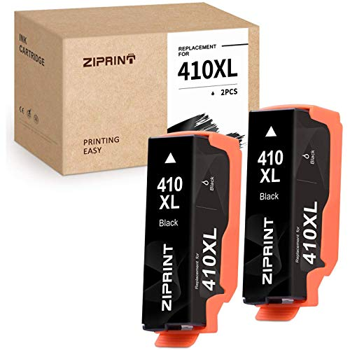 ZIPRINT Remanufactured Ink Cartridge Replacement for Epson 410 XL 410XL T410XL for Expression XP-7100 XP-830 XP-640 XP-630 XP-635 XP-530 Printer (Black, 2-Pack)