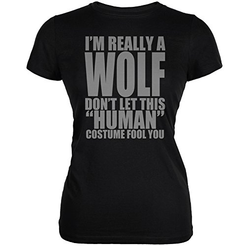[Halloween Human Wolf Costume Black Juniors Soft T-Shirt - Large] (Human Wolf Costume)