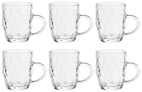Clear Glass Beer Mug - 6-Pack 11-Ounce Beer Glasses with Handle, Traditional Drinkware Design, Ideal for Indoor Outdoor Use, Father's Day Gifts, 3.7 Inches Tall ()