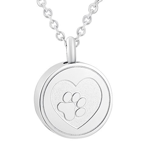 SS9883 Dog/Cat Memorial Ashes Keepsake Urn Paw Pendant Necklace Pet Stainless Steel Funeral Necklace (silver)