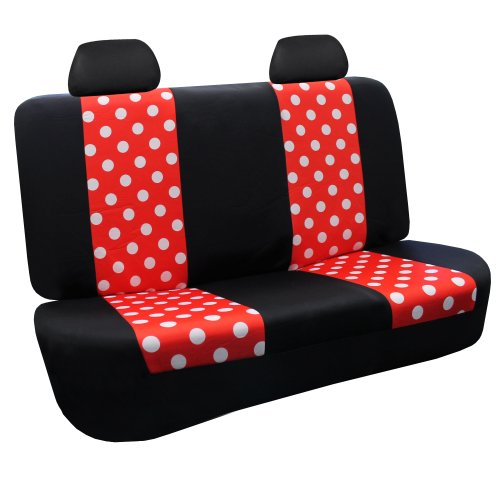 FH GROUP FB115114 Full Set Fun Polka Dots Car Seat Covers Red Color