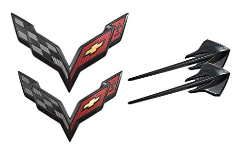 2014+ C7 Corvette OEM Carbon Flash Black Exterior Set - Stingray Fender Emblems & Front / Rear Crossed Flags