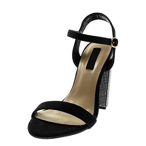 Angkorly Damen Schuhe Sandalen Pumpe - Knöchelriemen - Strass - String Tanga Blockabsatz High Heel 12 cm Schwarz