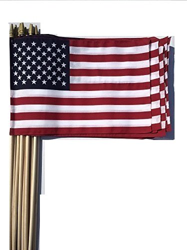 Lot of -12- 12x18 Inch US American Hand Held Stick Flags Sewn Edges with Spear Tip WindStrong®