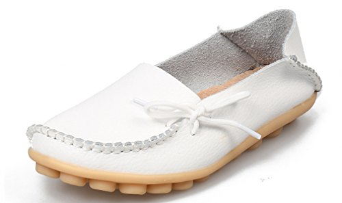 KEESKY Damen Leder Loafers Aushöhlen Casual Slip On Driving Schuhe 03 Weiß