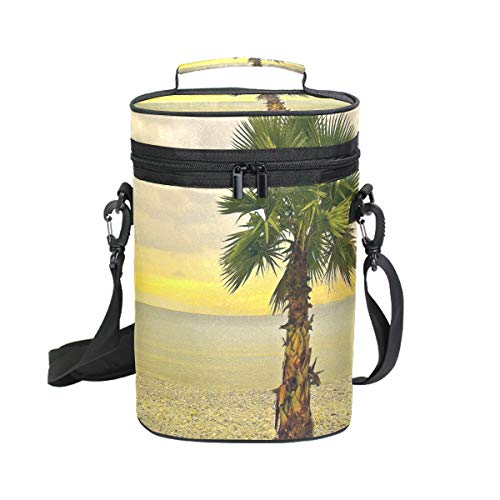 Insulated Wine Carrier Tote Bag Palm Tree On The Beach 2 Bottle Travel Padded Wine Carrying Cooler Bag with Handle and Adjustable Shoulder Strap, Great Wine Lover Gift