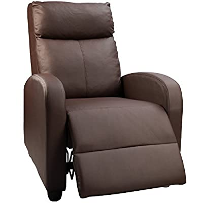 Devoko Adjustable Recliner Single Chair PU Leather Modern Living Room Chair Thicker Cushion Ergonomic Lounge Sofa for Home Theater Seating (Brown)