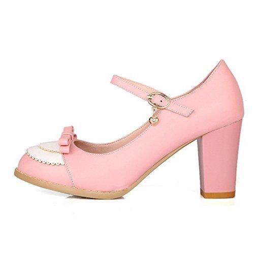 AgooLar Damen Schnalle Rund Schließen Zehe Hoher Absatz Gemischte Farbe Pumps Schuhe Pink