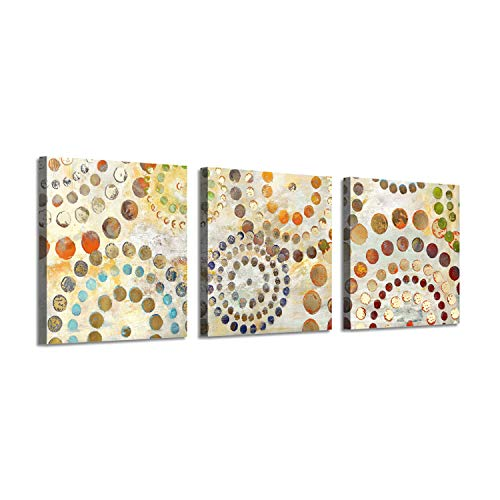 Abstract Entertainment Artwork Dots Picture: Circular Energies Gold Foil Art Print on Canvas