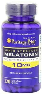 Puritan's Pride Super Strength Rapid Release Capsules, Melatonin, 10 mg, 120 Count
