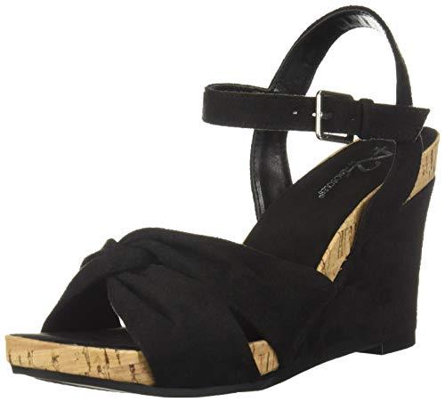 Aerosoles A2 Women's Coral Plush Wedge Sandal, Black Fabric, 9.5 M -