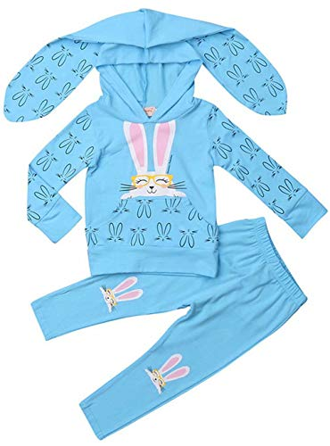 Kids Baby Girls 3D Cartoon Bunny Ear Easter Hoodies Sweatshirt Tops +Pants 2Pcs Tracksuits Set size3T/Tag100 (Blue) ()