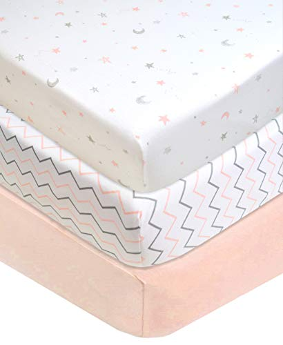 "American Baby Company 3 Piece 100% Natural Cotton Value Jersey Knit Fitted Portable/Mini-Crib Sheet, Pink Star/Zigzag, 24"" x 38"" x 5"", Soft Breathable, for Girls"