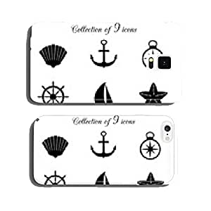 Collection of 9 marine vector icons. cell phone cover case iPhone6 Plus