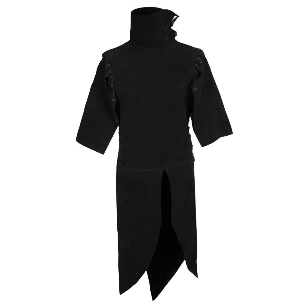 Wenini Men Vintage Tailcoat Half Sleeve Drawstring Dress Patchwork Tops Jumpsuit by Wenini