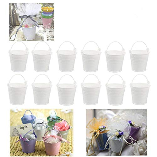 Dproptel All-in-1 Mini Metal Bucket Candy Favours Box Pail Wedding Party Gift/Serving Bucket, Chip Bucket, Condiment Packet Holder, Ash Tray Bucket (White) (White Mini Pails)