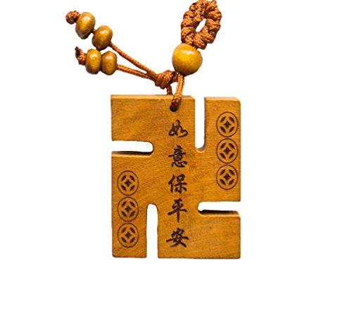 Buddha Power Swastika - Handmade Wood Fortune Protection, Good Luck Charms, Fortune Mantra Written on Back Side, Bring Good Luck in Financial and Love Life, Hand Crafted By Buddha Temple Monk's ()