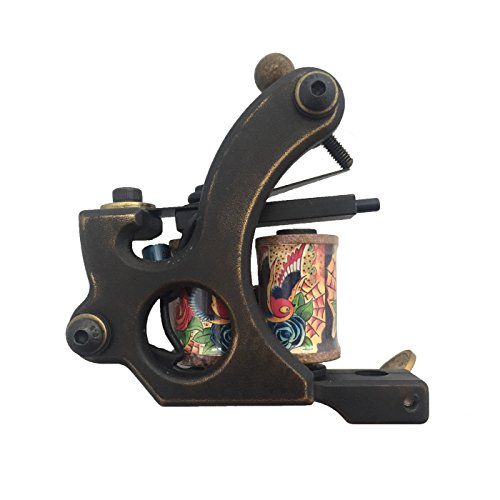BIGWASP 10 Wrap Coils Handmade Tattoo Machine Gun CNC Carved Brass Frame for Shader