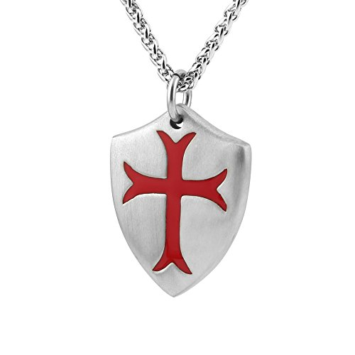 HZMAN Knights Templar Cross Joshua 1:9 Shield Stainless Steel Pendant Necklace with Free 24