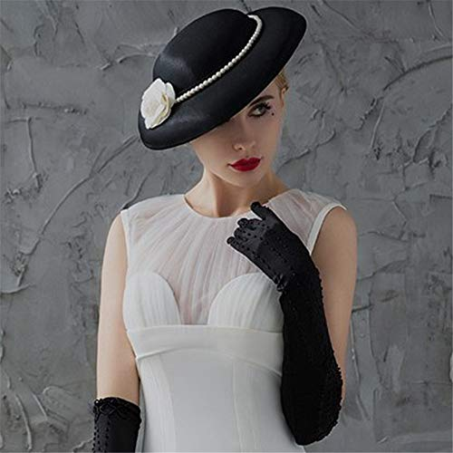 in Ball e sposa nero Party Piccola da The Pubblicità Retro Acconciatura bianco perla Hat profumata European Camellia anxwSUvfq