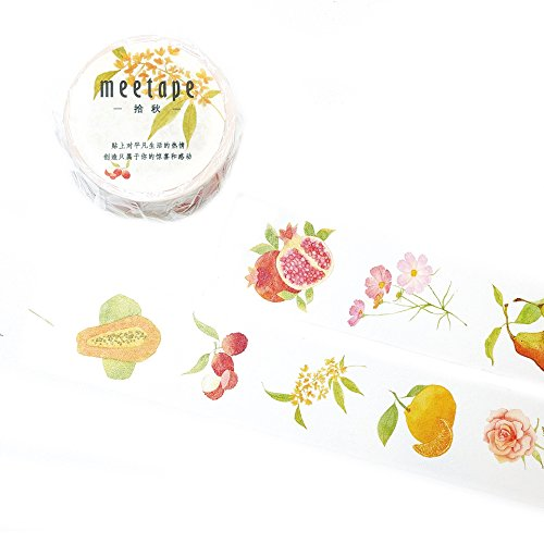 New Signature Collection Designer Washi Tape: Perfect Multi Purpose Colored Masking Tape for Walls, Arts and Crafts, DIY, Scrapbook - 30mm x 10m (in Season) (Green Vegetable That Looks Like A Pear)