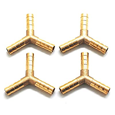 Driak 4Pcs 3/8 Y Typed 3 Ways Brass Hose Barb Fitting Adapter Hose Barb Connectors