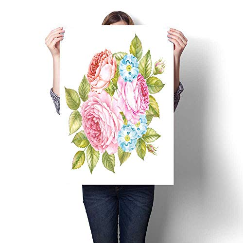 - Canvas Painting Sticker Bouquet of roses flowers Vintage watercolor botanical illustration Invitation card for wedding birthday and other holiday and summer background Print On Canvas For Wall Decor