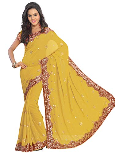 (Indian Trendy Golden Bollywood Wedding Sequin Embroidery Sari Saree Costume Boho Robe Kaftan Party Wear (Golden))