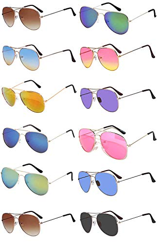 (12 Pairs Classic Aviator Sunglasses Metal Gold Silver Black Colored Mirror Lens OWL (Aviator_Mix_Colored_Lens, Colored))