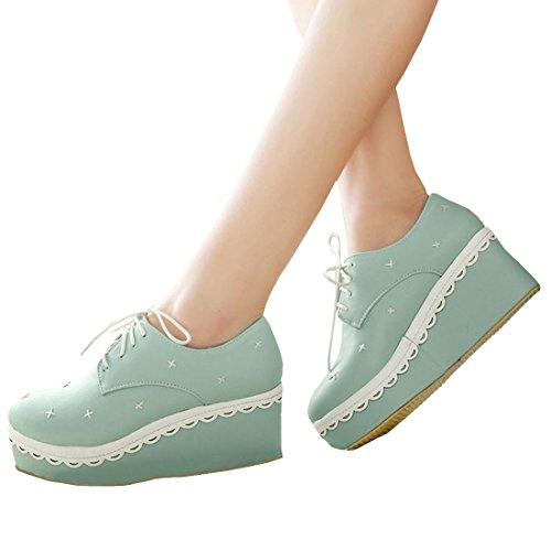 Partiss Damen Japanisch Suess High-top Boots Casual Schuhen Lolita Pumps Herbst Fruehling Wedge Platform Pumps Spring Shoes Plateauschuhe fuer Hochzeit Tanzenball Maskerade Hellblau