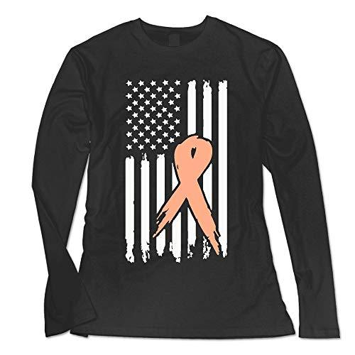 (YLCXIUWJWYZ5 Women's Uterine Cancer Ribbon USA Flag Awareness-1 Basic Round Neck Tee with Long Sleeves )