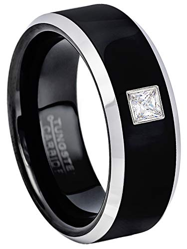0.10ctw Solitaire Princess Cut Diamond Tungsten Ring - 8MM Polished 2-Tone Beveled Edge Tungsten Carbide Wedding Band - April Birthstone Ring - s8 ()