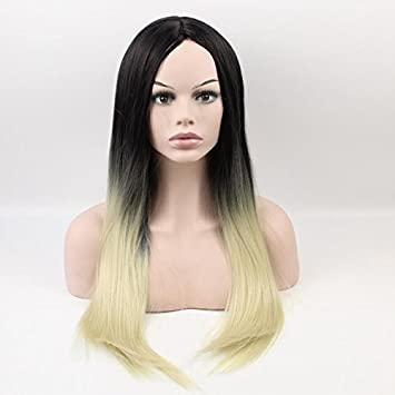 Wiged Weibliche Schwarze Lange Glatte Haare Perucke Stickig Blau