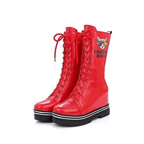 AllhqFashion Womens Round Closed Toe Mid Top High Heels Animal-Print Pu Boots Red cpTZJ