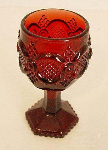 Vintage Ruby Red Cape Cod 1876 Avon Mini Wine Goblet