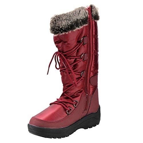 Botas De Nieve Nature Breeze Frost-01 Para Mujer Con Cordones Y Cordones De Media Altura