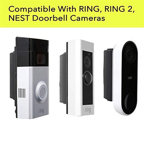 Soporte de pared de ángulo ajustable para anillo 1, 2 y Nest WiFi habilitado para puerta de vídeo, kit de esquina ajustable...