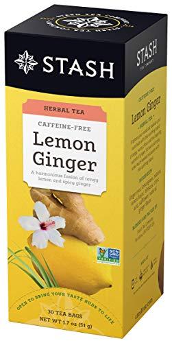 Stash Tea Lemon Ginger Herbal Tea 30 Count Box of Tea Bags Individually Wrapped in Foil (Pack of 6), Premium Herbal Tisane, Citrus-y Warming Herbal Tea, Enjoy Hot or Iced