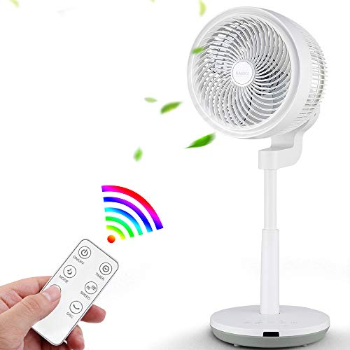Standing Fan with Air Circulation Function, Oscillating Fan with Remote Control, Floor Fan, Pedestal Fan with 4 Powerful Variable Speed, 3 Modes, Adjustable Height and Free Installation