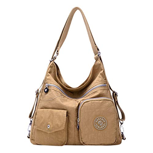 Orfilaly Women Large Capacity Bags, Ladies Multifunction Solid Shoulder Travel Backpack Crossbody Totes Student Schoolbags Khaki