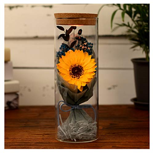 BLAKQ Eternal Flower Everlasting flower Luminous Wishing Bottle Creative Practical Gift Glass Cover Gift Carnation Gift Box Valentine