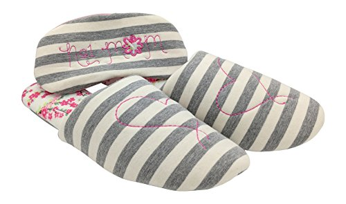 Dearfoams Mujeres Novedad Clive Toe Scuff And Mask Slipper Gray Stripe