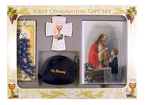 - First Communion Gift Set with Mass Book, Cross Magnet, Rosary, and Bookmark