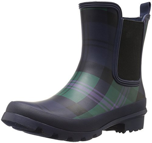 Nine West Women's Xia Patent Boot, Navy Plaid/Black, 7 M - Nine Rubber Boots West