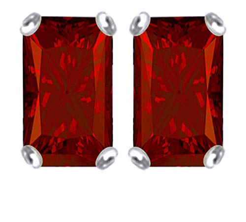 7x5mm Emerald Cut Simulated Garnet Stud Earrings in 14k White Gold Over Sterling Silver
