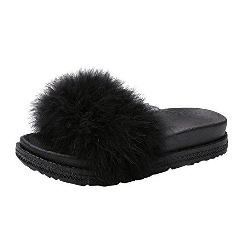Sunshinehomely Women Flats Womens Ladies Slip On Sliders Fluffy Faux Fur Flat Slipper Flip Flop Sandals (Black, (Calvin Classic Dress Socks)