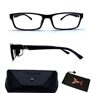 (#6801 Blk) 1 Pair Men & Women Unisex Myopia Eyeglasses Short Sighted / Nearsighted Glasses + FREE Hard Case Storage (Strength: -4.0)