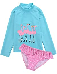 Two Piece Swimsuits for Girls - Little Kids Girls Long Sleeve Flamingo Rash Guard Bikini Bathing Suit with UPF 50+