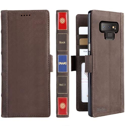 Galaxy Note 9 Leather Wallet Case - iPulse Vintage Book Series Italian Full Grain Leather Handmade Flip Case for Samsung Galaxy Note 9 with Magnetic Closure - Retro Brown