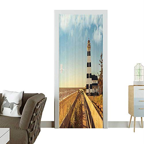 Door Decals Sandy Coastal achside with Lighthouse Sea Waves Wind Wooden Fence Pine Tree Pressure resistantW30 x H80 INCH ()